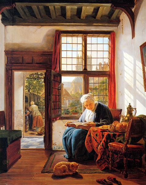 Reading old woman at window - Abraham van Strij