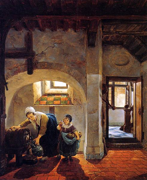 Woman and child in basement - Abraham van Strij