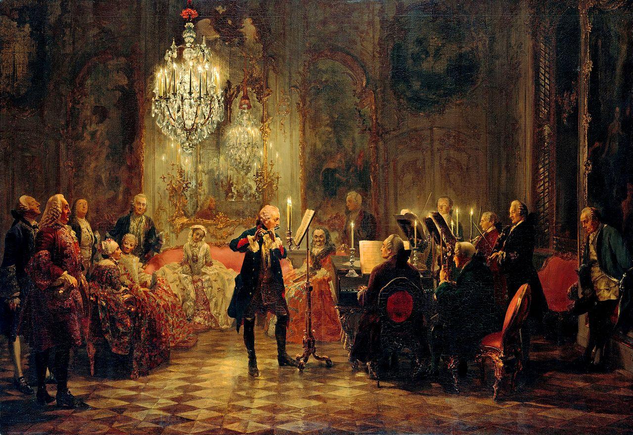 La musique dans la peinture - Page 7 Flute-concert-with-frederick-the-great-in-sanssouci-1852%281%29