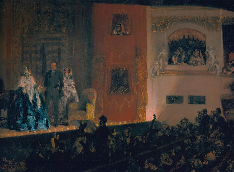 Théâtre du Gymnase in Paris, 1856 - Adolph Menzel