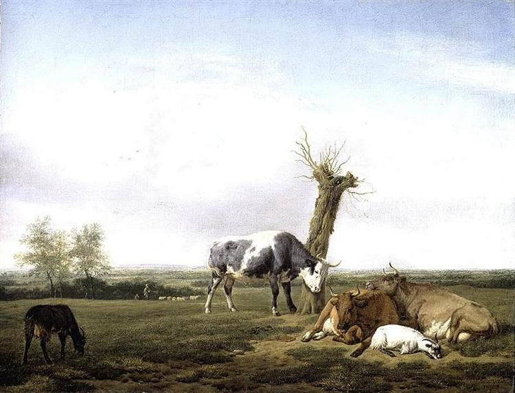 Cattle and Goats in a Meadow, 1658 - Adriaen van de Velde