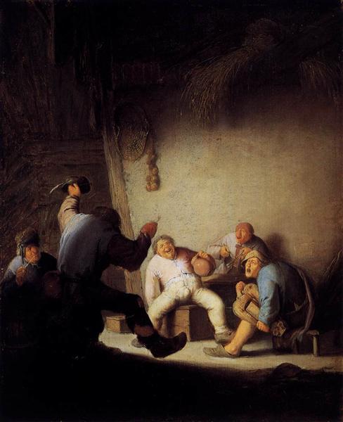 Peasants Drinking and Making Music in a Barn, c.1630 - c.1635 - Adriaen van Ostade