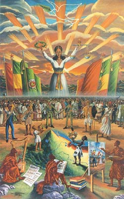 The Victory of Ethiopia (Central Panel - Through Our United Efforts We Shall Protect the Unity and Territorial Integrity of Ethiopia) - Afewerk Tekle