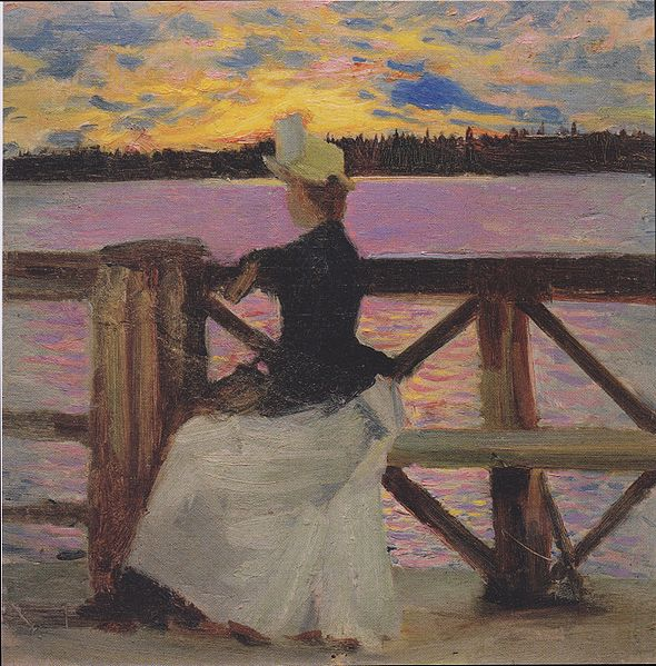 Marie Gallén at the Kuhmoniemi-bridge, 1890 - Akseli Gallen-Kallela