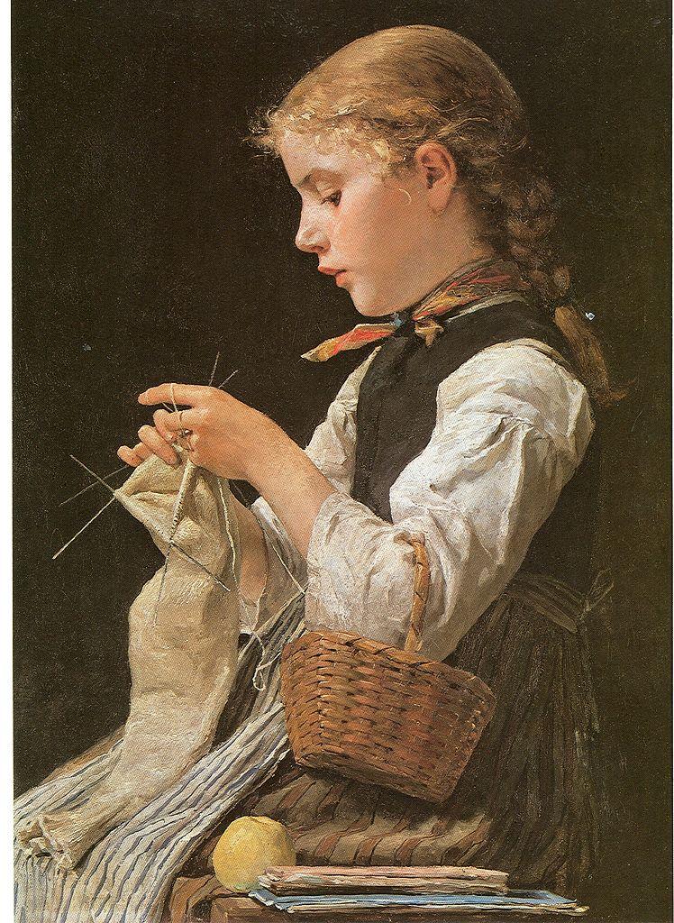 Strickendes Mädchen, 1884