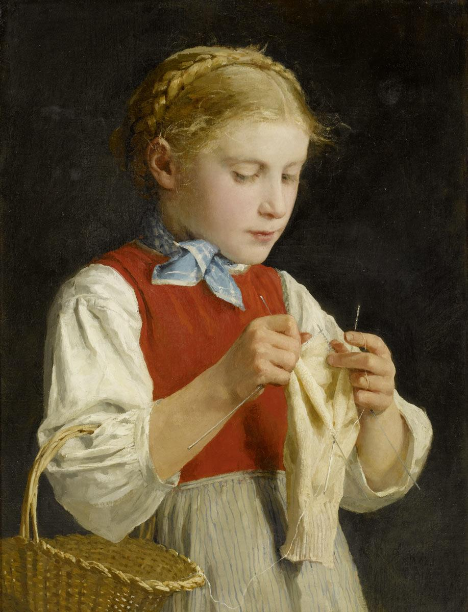 Young Girl Knitting, 1884