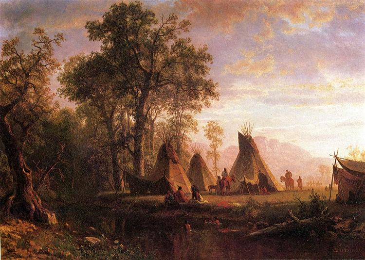 Indian Encampment, Late Afternoon, 1862 - Альберт Бірштадт