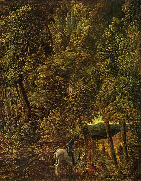 Countryside of wood with Saint George fighting the dragon, 1510 - Albrecht Altdorfer