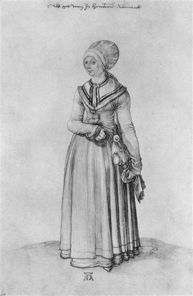 Nuremberg woman in house dress, c.1500 - c.1501 - Albrecht Durer