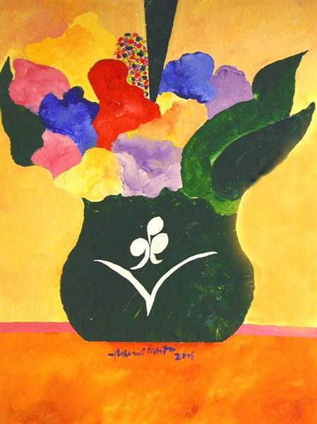 Green Vase With Flowers and Fruit, 2001 - Aldemir Martins