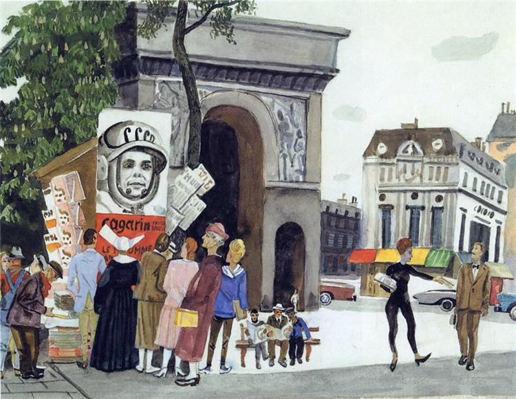 Gagarin's Day in Paris, 1962 - Aleksandr Deyneka