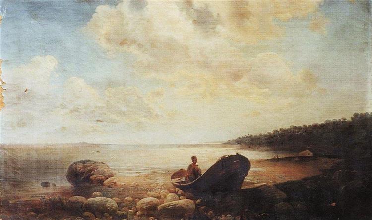 Landscape with boat, c.1860 - Aleksey Savrasov