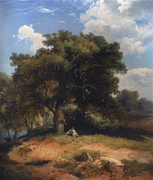 Landscape with oak trees and shepherd, c.1860 - Aleksey Savrasov