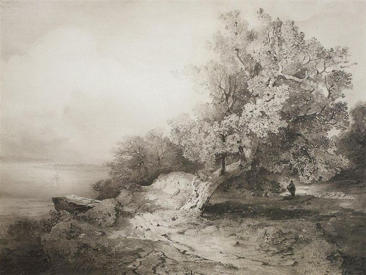 Old oak tree at the cliff above the river, 1857 - Aleksey Savrasov