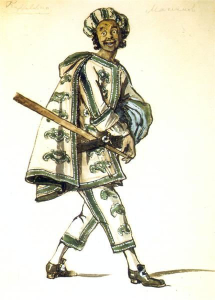 "Truffaldino. Costume design for Goldoni's comedy  ""Servant of two masters"", 1920 - Alexandre Benois"