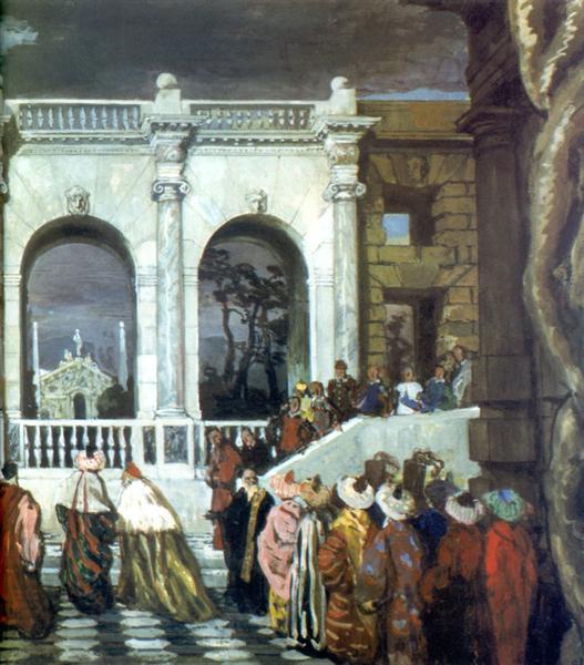 """Venetian celebration of the XVI century. Fragment. Set Design for an unrealized ballet """"The festivities"""", 1912 - Alexandre Benois"""