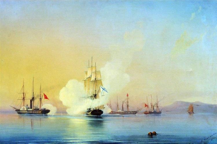 The battle of fregate Flora against Turkish steamships near Pitsunda November, 11 1853 - Alexey  Bogolyubov