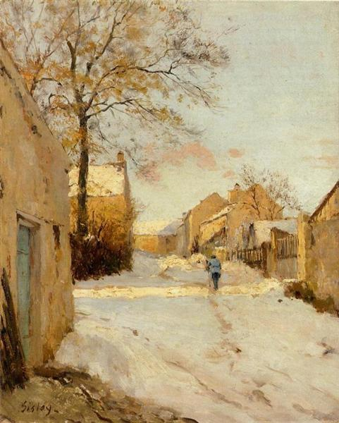 A Village Street in Winter, 1893 - Alfred Sisley