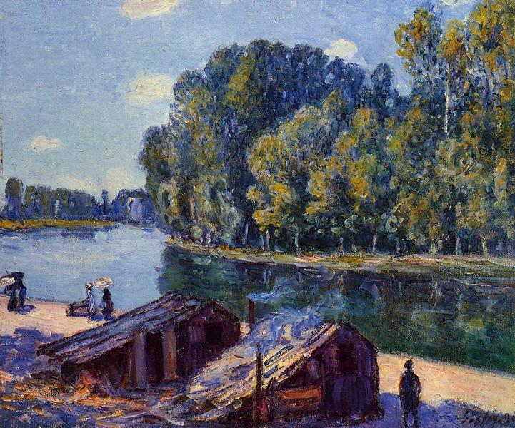Cabins along the Loing Canal, Sunlight Effect, 1896 - Alfred Sisley