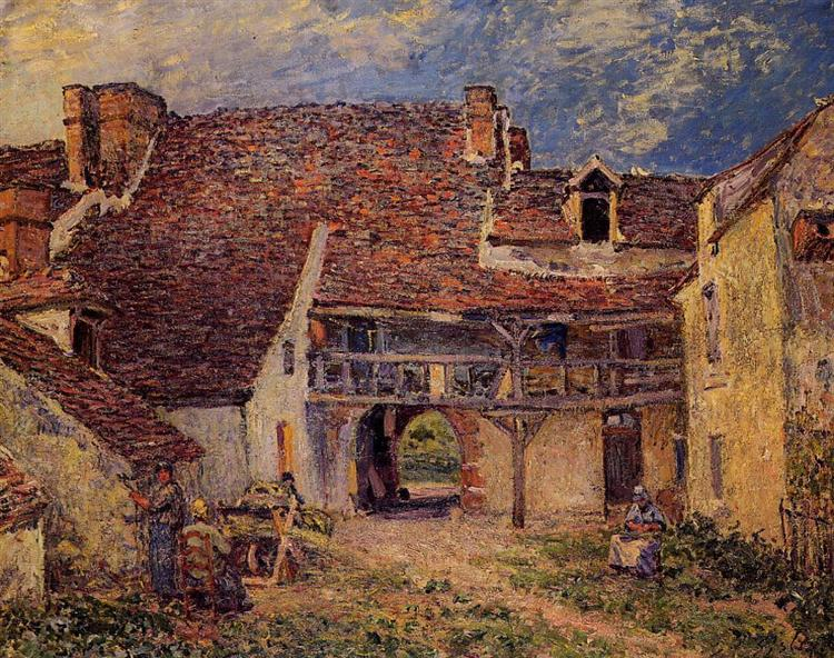 Courtyard of a Farm at Saint Mammes, 1884 - Alfred Sisley