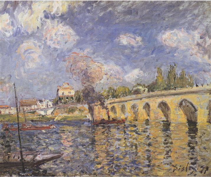 River steamboat and bridge, 1871 - Alfred Sisley