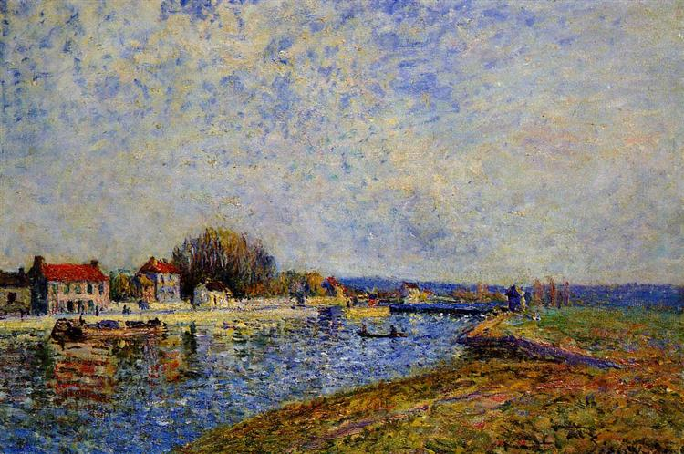 The Dam, Loing Canal at Saint Mammes - Alfred Sisley