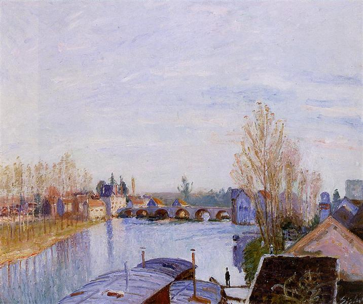 The Loing at Moret, the Laundry Boat, 1890 - Alfred Sisley