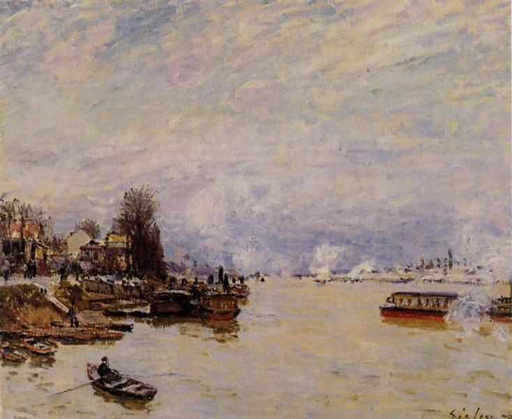 The Seine, View from the Quay de Pont du Jour, 1878 - Alfred Sisley