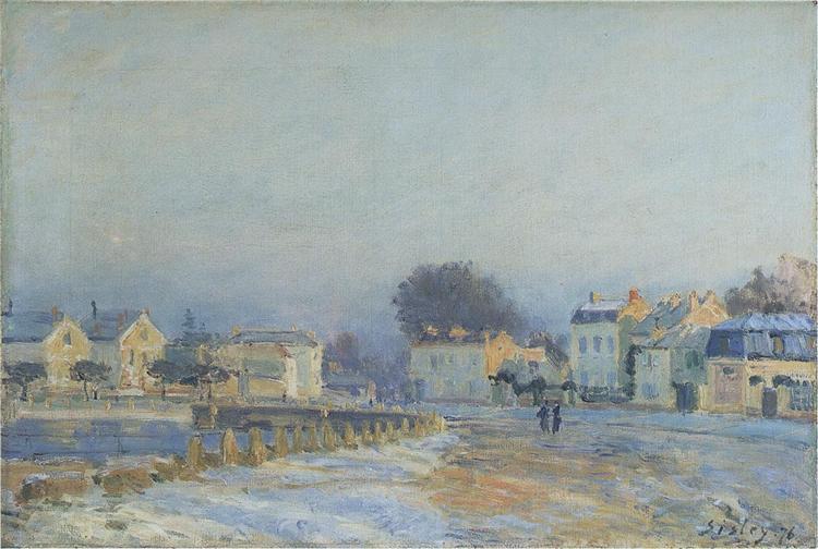 L'Abreuvoir à Marly-Le-Roi, gelée blanche, 1875 - Alfred Sisley