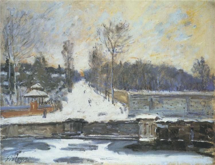 The Watering Place at Marly le Roi in Winter, 1875 - Alfred Sisley