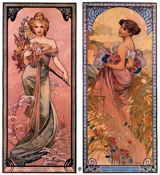 The seasons (Spring, Summer), 1898 - Alphonse Mucha
