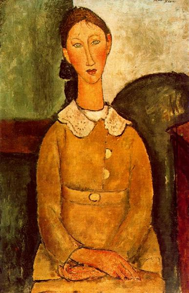 A girl in yellow dress, 1917 - Amedeo Modigliani