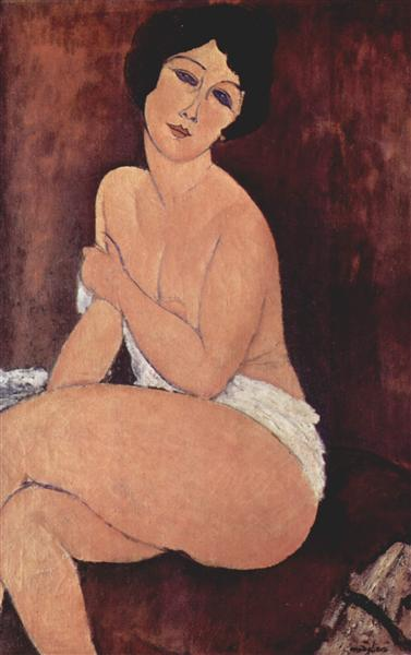 Nude seating on a sofa, 1917 - Amedeo Modigliani