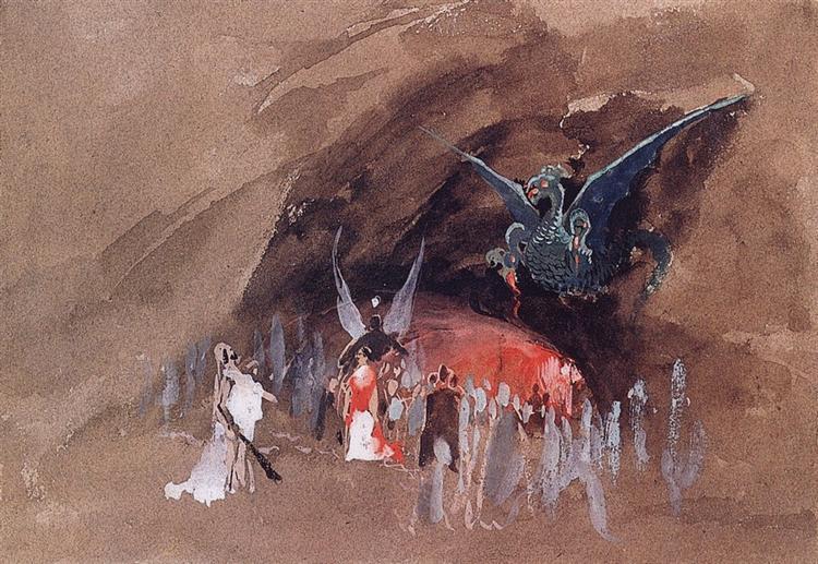 In the dragon cave, c.1880 - Андрей Рябушкин