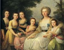Portrait of Countess A S Protasova with Her Nieces - Angelica Kauffman