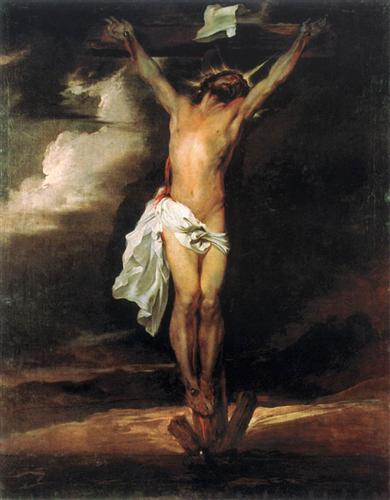 A painting of Jesus on the Cross