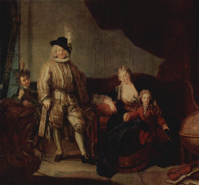 Family Portrait of Baron von Erlach, 1711 - Antoine Pesne