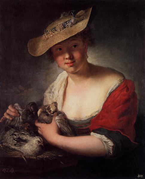 Girl with Pigeons, 1728 - Antoine Pesne