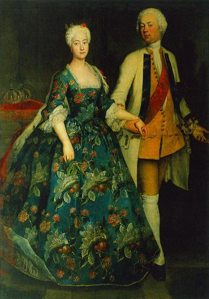 Princess Sophie Dorothea Marie with her ​​husband, Frederick William, Margrave of Brandenburg Schwedt, 1734 - Antoine Pesne