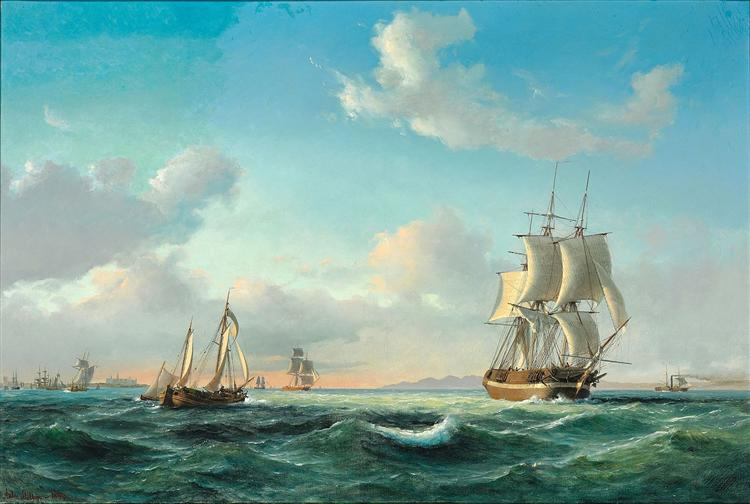 The sailing ship 'Johanna' and other vessels in Sundet off Kronborg Castle, 1849 - Anton Melbye