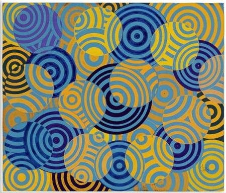 Interférences en bleu et jaune (No. 642), 1963 - Antonio Asis