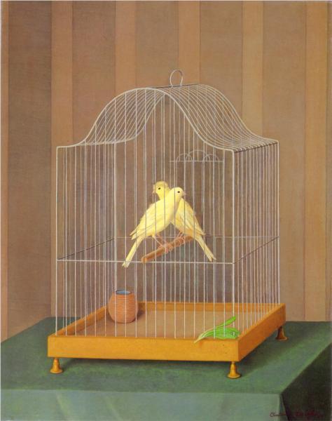 Due canarini in gabia - Antonio Donghi