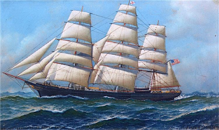 The American Clipper Ship Gamecock under Full Sail, 1918 - Антонио Якобсен