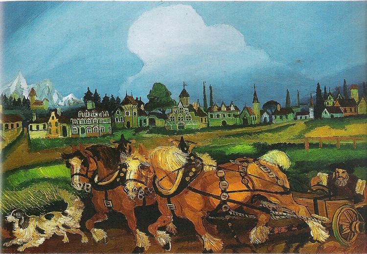 Planting with horses, 1956 - Antonio Ligabue