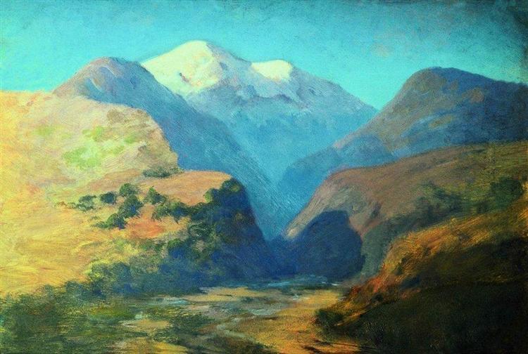 Snowy mountain peaks. Caucasus., c.1895 - Arkhip Kuindzhi