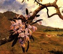 Flores de mayo y paisaje - Arturo Michelena