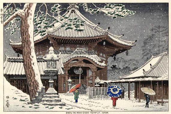 Snow at Nan-endo Temple, Nara, 1953 - Asano Takeji