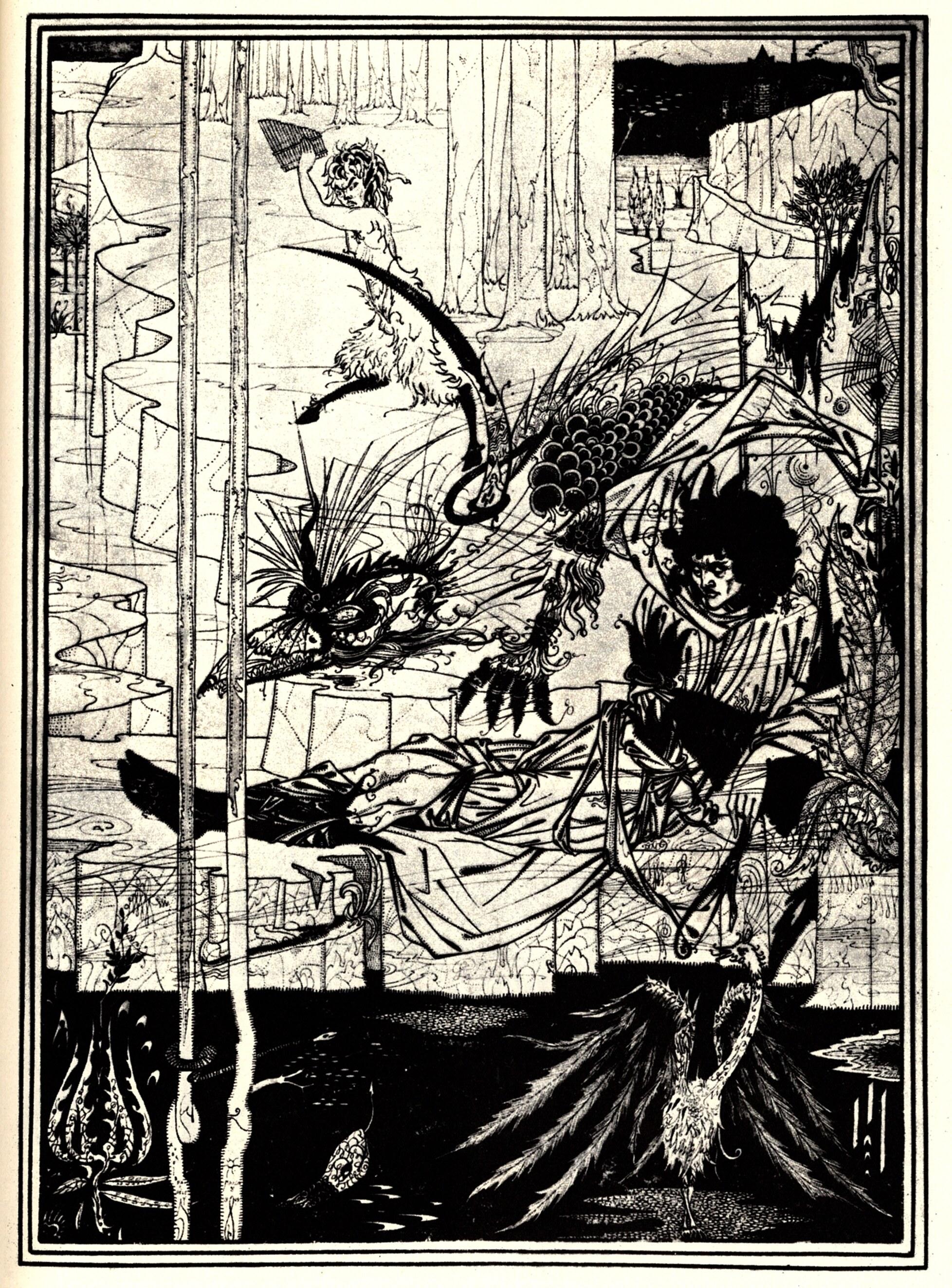 how king arthur saw the questing beast aubrey beardsley