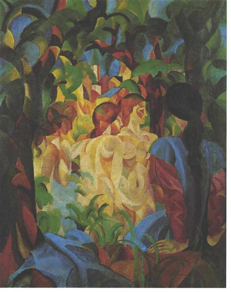 Bathing girls with town in the backgraund, 1913 - August Macke