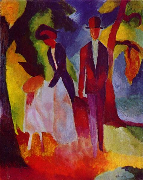 People at the blue lake, 1913 - August Macke